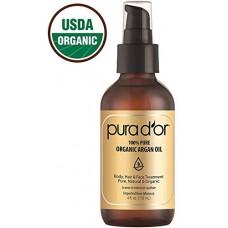 PURA D'OR (4 oz) Organic Moroccan Argan Oil 100% Pure Cold Pressed, USDA Certified Organic, All Natural Anti-Aging Moisturizer Treatment for Face, Hair, Skin & Nails, Men & Women