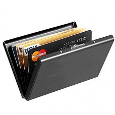 MaxGear RFID Blocking Credit Card Holder, MaxGear Stainless Steel Card Holder Case for Travel and Work, Steel Metal Slim Wallet, Credit Card Case for Business Cards, Credit Cards Nano Black